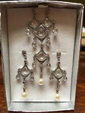 10k White Gold Drop Dangle Chandelier Necklace & Earrings Set Diamond Access