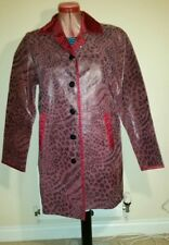 BETH TERRELL Purple Spotted REAL LEATHER Box COAT Size M Chest c44ins c112cms