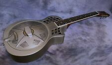 More details for minolian parlour resonator - 14 fret cutaway body - vintage steel finish