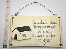 Grandads Shed Wall Plaque Sign Fathers Day & Birthday Gift Ideas For Him Man Men