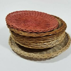 Lot of 9 Wicker Rattan Bamboo Paper Plate Holders Basket Wall Decor