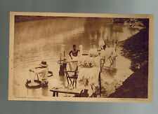 1925 Batavia Netherlands Indies RPPC postcard Cover to USA Native Washerman