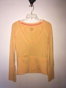 Women's Xhilaration V-Neck Long Sleeve Yellow Sweater Shirt Top Sz Small