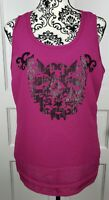 Ariat Womens Sequin Scoop Neck Fuchsia Pink Tank Top Raw Hem Size Large