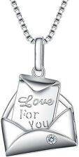 You Letter Envelop Pendant Necklace Womens Sterling Silver Cz EngravedLove For