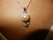 Sets - White Shell Pearls surrounded by crystals on Sterling Silver Chain