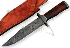 """Damascus steel BLADE  HANDMADE BOWIE KNIFE ROSE WOOD, OVERALL 12"""" INCHES"""