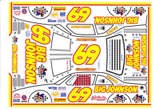 #69 E. Normus Big Johnson Yellows #s 1/32nd Scale Slot Car Waterslide Decals