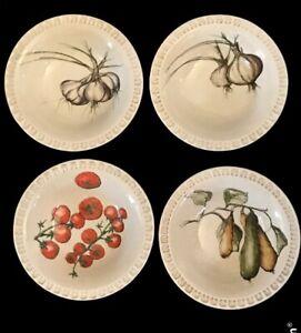 """4 Williams Sonoma Italy Vegetable Design Piecrust Rim Pasta Salad Bowls 9.25"""""""