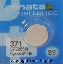 1 pc 371 Renata Watch Batteries SR920SW FREE SHIP 0% MERCURY