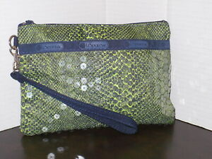 LE SPORT SAC Small Pouch w/ Wrist Strap ~ Green Snakeskin Fabric & Sequins