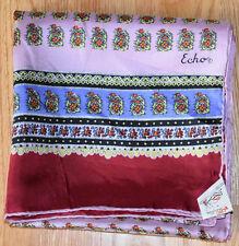 "Rare Mid Century Vtg Nwt Echo Originations Oblong Silk Scarf Floral 61"" Japan"