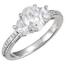 1.6 ct Oval Shape & Half Moon Cut Diamond Wedding 3 Stone Ring 14k White Gold