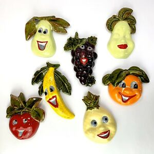 VTG Chalkware Anthropomorphic Fruit Wall Hangings 7 Piece Retro Kitchen Kitschy
