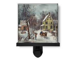 American Homestead Farm Winter Vintage Style Nature Art Glass Photo Night Light