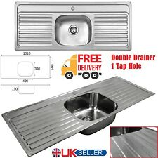 More details for stainless steel double drainer 1 bowl inset kitchen sink 1 tap hole 1310 x 500mm