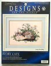 "Counted Cross Stitch Signature Series IVORY CATS 14"" x 10"" Lesley Ivory 1998"