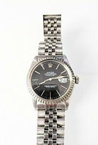 Vintage Rolex Datejust 36mm Steel Automatic Jubilee Black 16030/1603 Circa 1980s