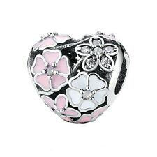 BLOOMS HEART-Cherry blossom- 925 sterling silver European bead charm- CZ- Poetic