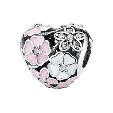 Florece Corazón-Cherry Blossom - 925 Plata De Ley Europeo Cuenta Dije-CZ-Poética
