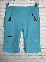 JAMIE SADOCK Women's Blue Ponte Golf Bermuda Walking Shorts Zip Cargo Pockets 12
