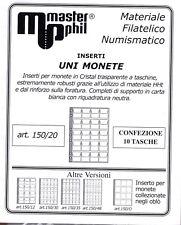 Master Phil Confezione 10 fogli per contenere monete formato UNI  da 20 spazi