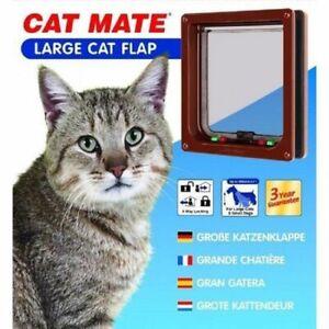 Pet Mate 4 Way Locking Large Cat Flap Brown - Small Dog 221B