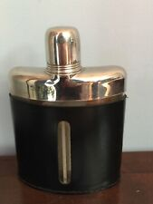 VINTAGE BLACK LEATHER 1/2 COVER  HIP FLASK WITH CUP TOP