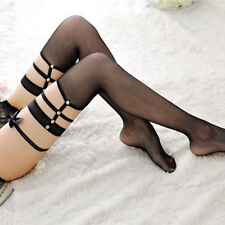 1 Pair Sexy Women's Lace Top Garter Belt Mesh Stockings Thin Fish Net Pantyhose