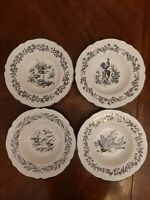 "SET 4 NEW ENGLAND TOILE BLACK  9.25"" RIMMED SOUP BOWLS BY TABLETOPS UNLIMITED"