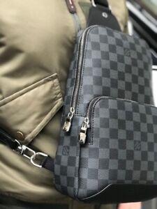 Louis Vuitton Shoulder Bag Men Leather Silver Monogram