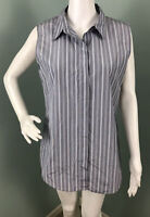 "NWT Women's Theory Sleeveless ""Tanelis"" Cotton Tech Stripe Button Top Sz Large"