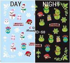 Nail Art Water Decals Glow in the Dark Merry Christmas Snowman Winter GID050