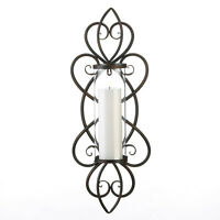 "large 26"" tall iron scroll Artisanal Sconce WALL mount hurricane candle holder"