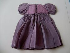 """ANTIQUE / VINTAGE SILK PINSTRIPE DRESS FOR 20-21"""" FRENCH OR GERMAN BISQUE DOLL"""