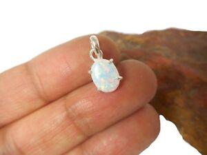 Oval White Opal  Sterling  Silver  925 Gemstone  Pendant