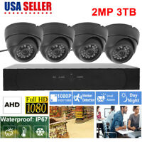 1080P 2MP 4CH DVR Wired Security Camera System Outdoor WiFi CCTV Video 3TB HD