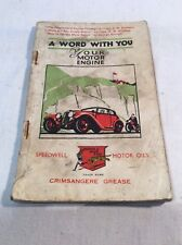 """Collectable Vintage """"A Word With Your Motor Engine"""" Speedwell Oils Book, c.1938"""