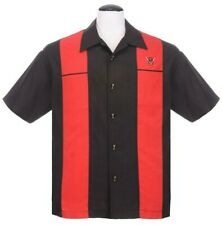 Steady Classy Piston Buttons Black Bowling Shirt Red Panel V8 Engine Car's New