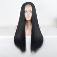 Lace Front L-parting long straight remy hair shine black Nicki Minaj wig Wigs