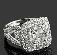 Cushion Cut Aquamarine Diamond 10k Solid White Gold Engagement Wedding Ring
