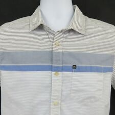 Quiksilver Blue Gray Stripe Shirt Men's Small Modern Fit Cotton Blend Skateboard