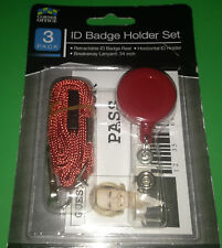"3 Pack: 1) RED Retractable Reel 2) 34"" Breakaway Lanyard 3) Horizontal ID Badge!"