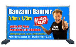 20x Hochwertiger Bauzaunbanner PVC Plane Banner - blickdicht - mit Wunschmotiv