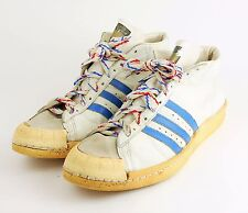 VINTAGE ADIDAS PROMODEL Men's 17 White & Blue High Top Basketball Sneakers Shoes