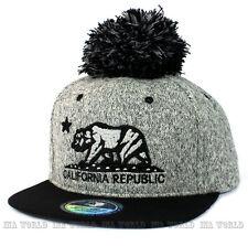 California Republic hat Pom Pom ball Baseball cap Snapback Flat bill- Grey/Black