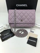Auth CHANEL Lilac Purple Lambskin w/ Silver HW Wallet On Chain WOC Crossbody