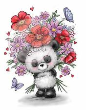 Panda Bear With Flowers Unmounted Rubber Stamp Wild Rose Studio # CL452 New