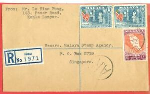 Malaysia Malaya RUBBER 6c X 2 + 30c Map on PUDU Registered cover AR Hand Stamped