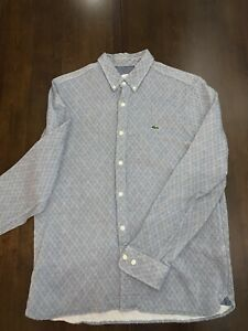 Mens Lacoste Live Gray 42 Large Button Up Long Sleeve